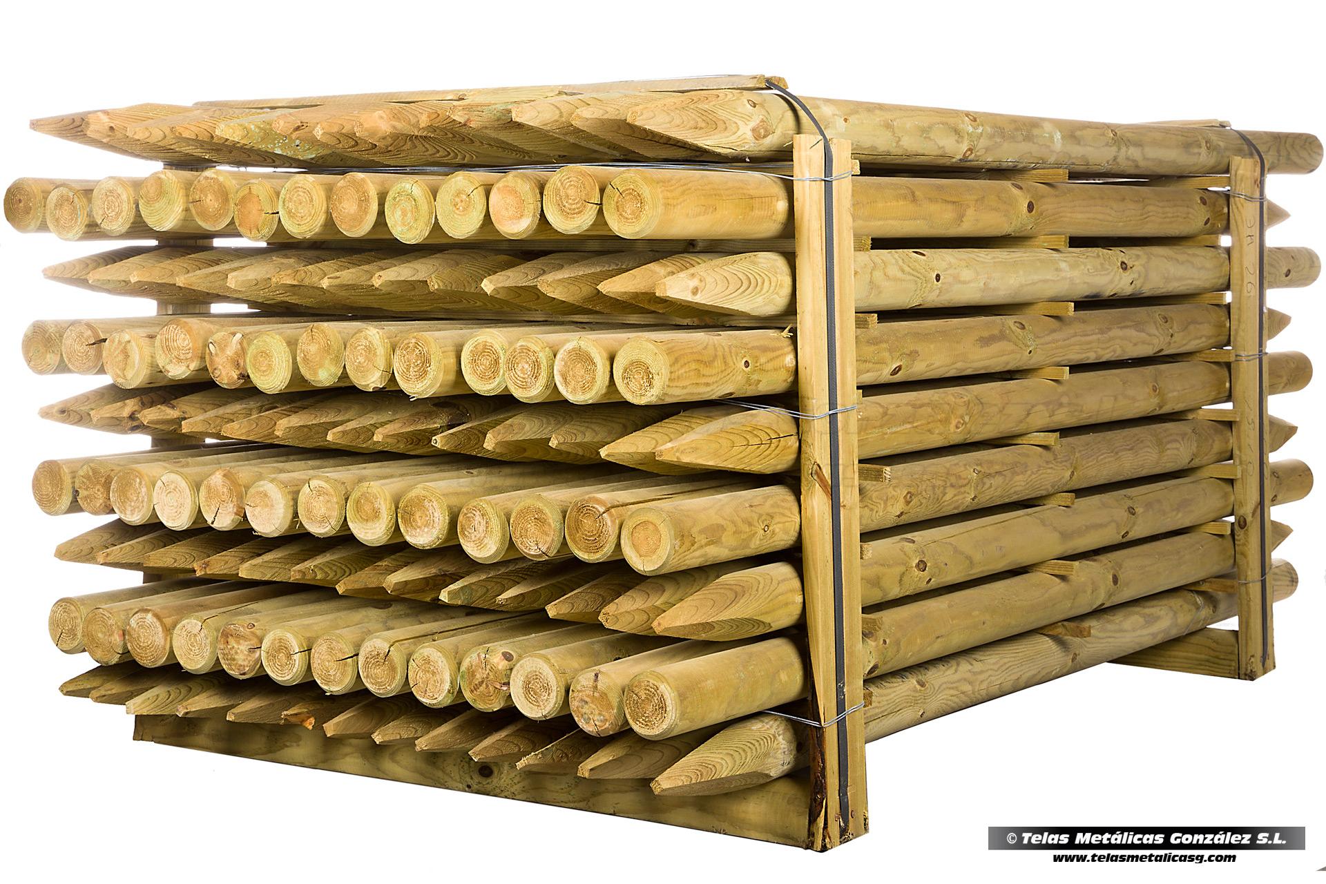 Telas met licas gonz lez estacas de madera de pino - Estacas de madera para cierres ...